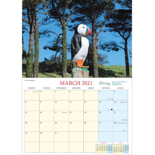 2021 Alderney A4 calendar - inside layout
