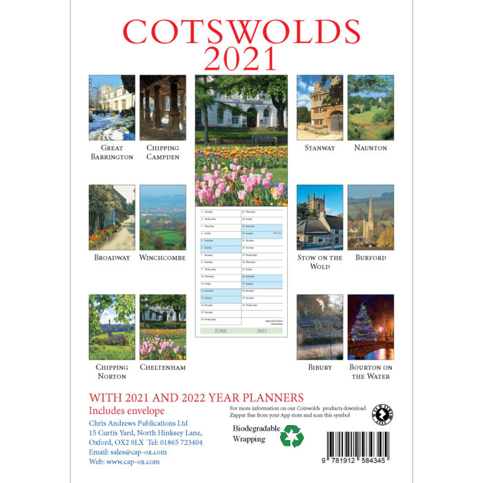 2021 Cotswolds A5 calendar - back cover
