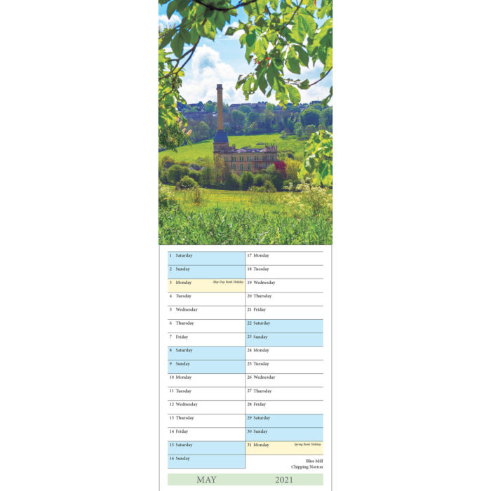 2021 Cotswolds A5 calendar - inside layout