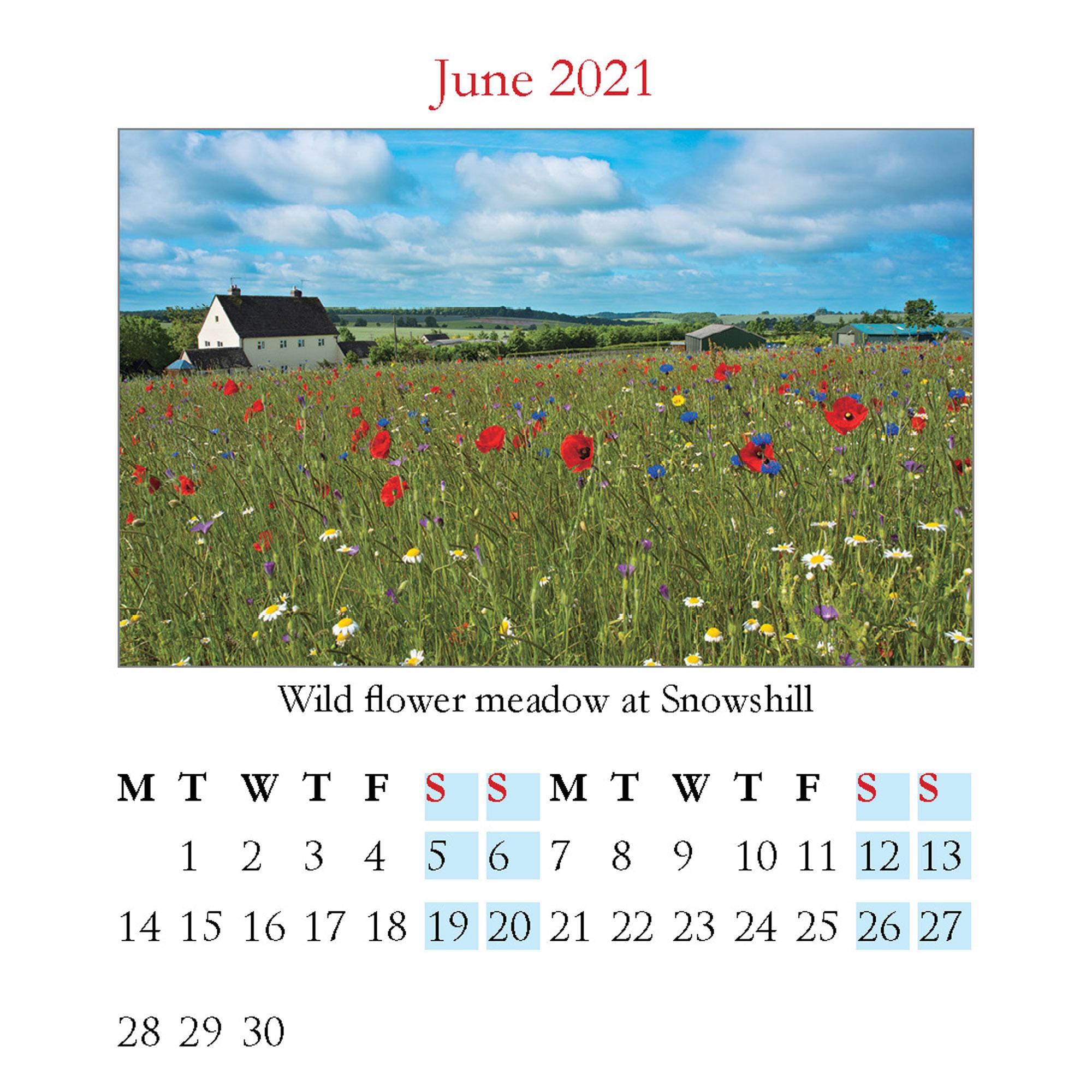 2021 Cotswolds mini desktop calendar - inside layout