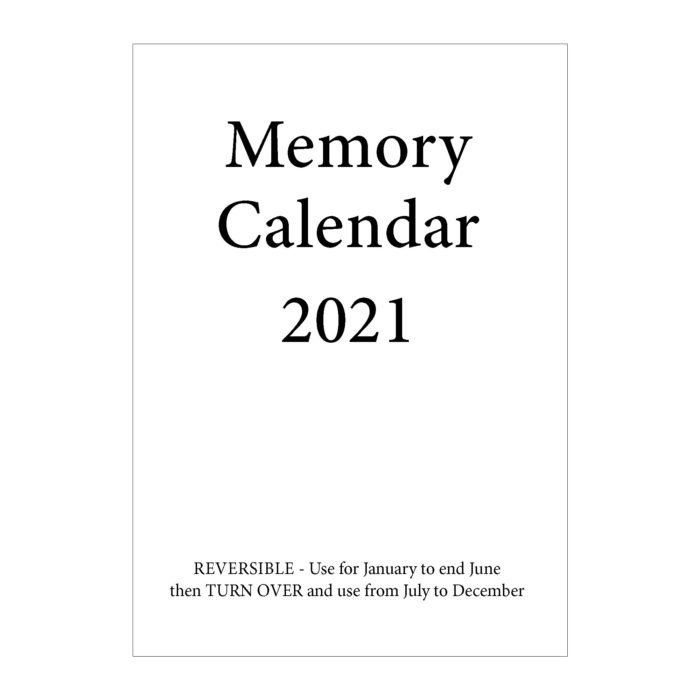 2021 Memory calendar - front cover