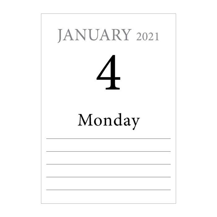 2021 Memory calendar - dates layout