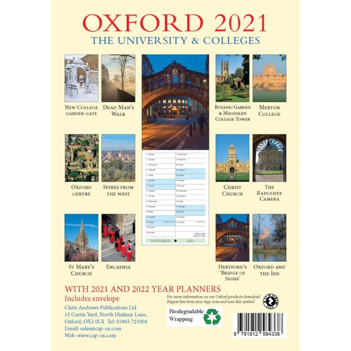 2021 Oxford A5 calendar - back cover