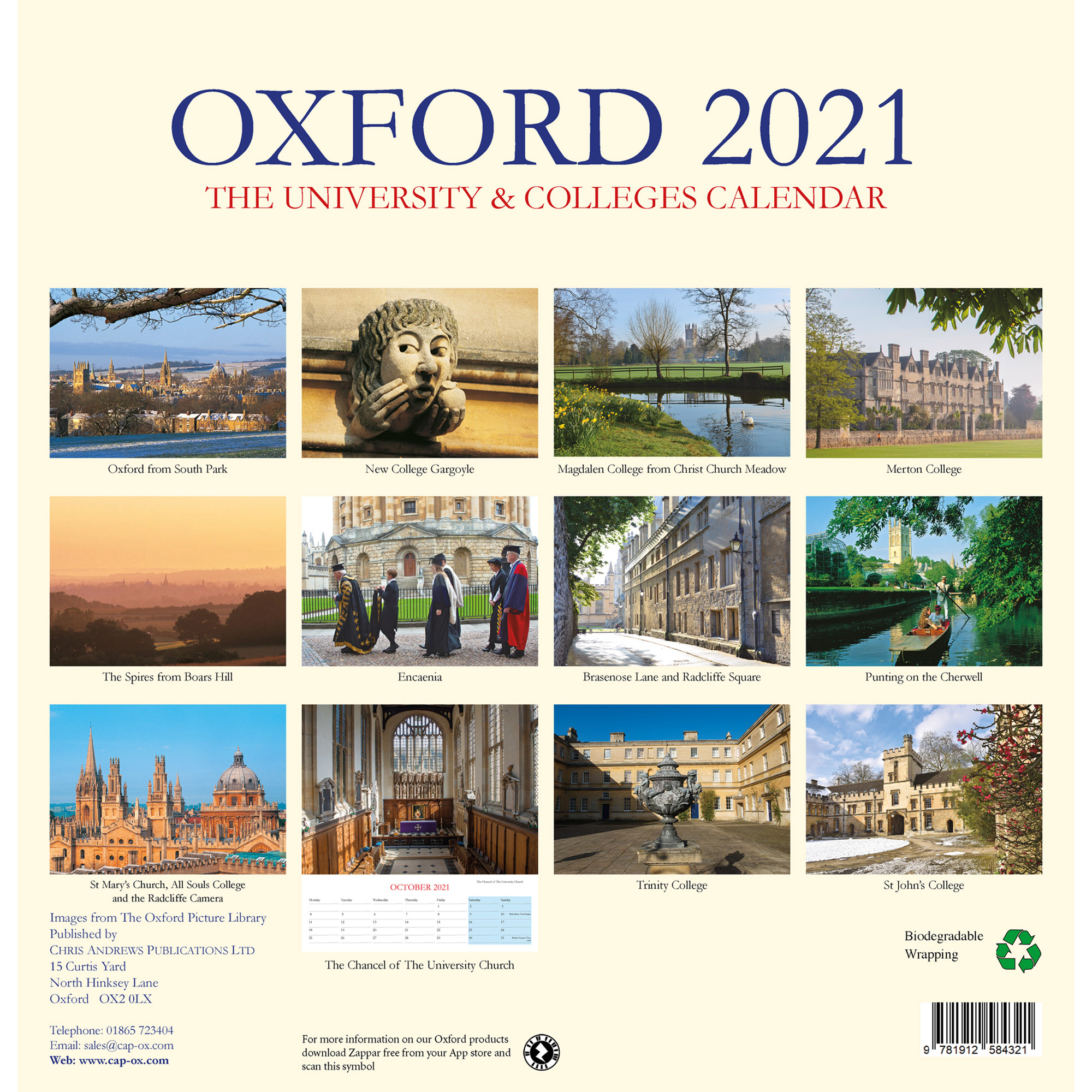 2021 Oxford Colleges calendar - back cover