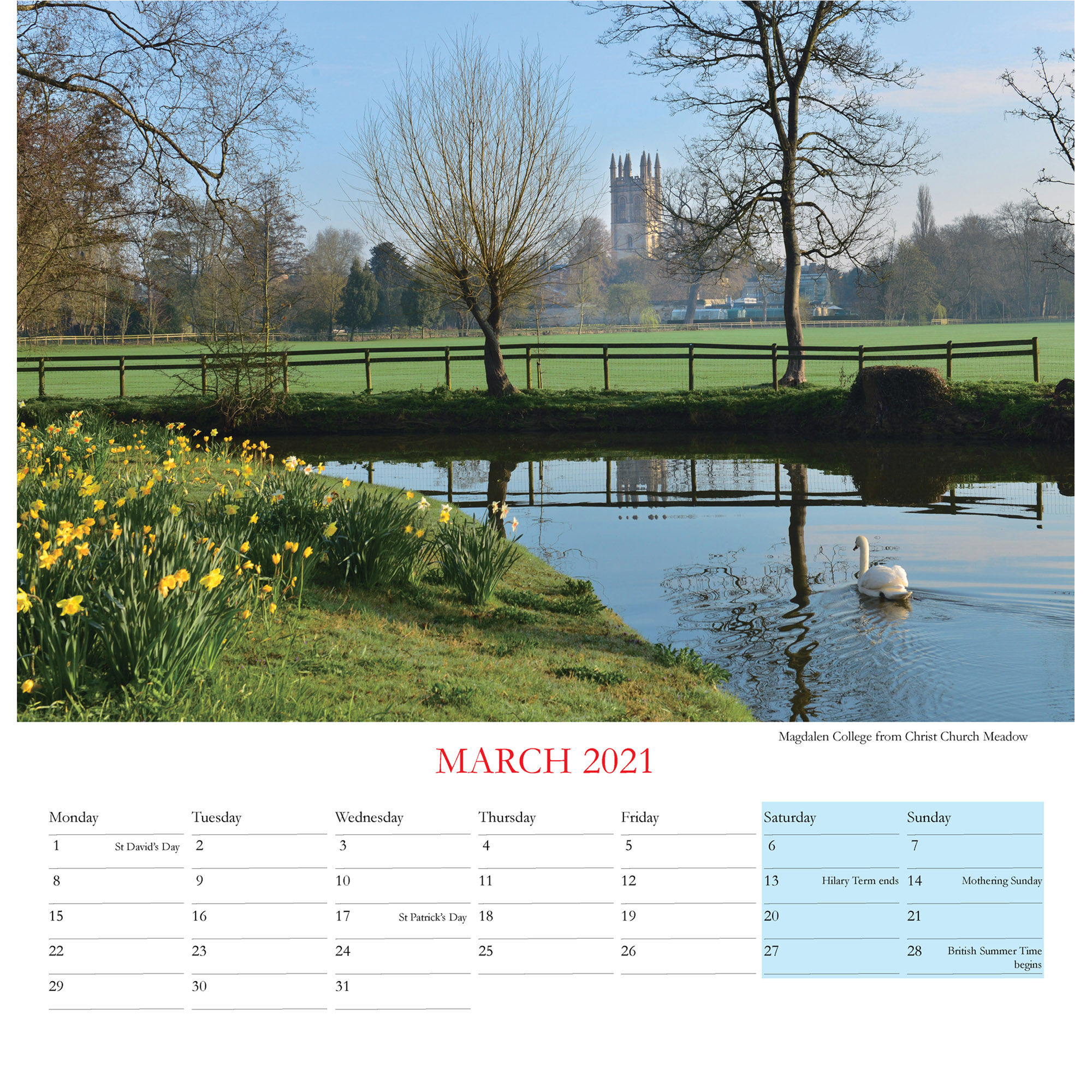 2021 Oxford Colleges calendar - inside layout