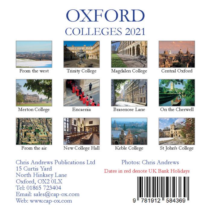 2021 Oxford mini desktop calendar - back cover