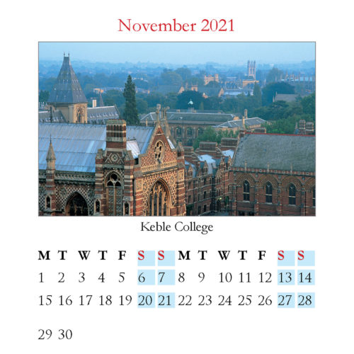 2021 Oxford mini desktop calendar - inside layout