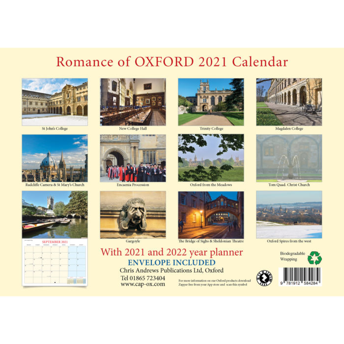 2021 Romance of Oxford calendar - back cover