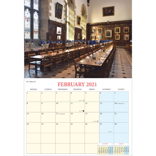 2021 Romance of Oxford calendar - inside layout