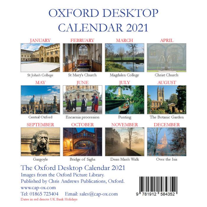 2021 Oxford large desktop calendar - back cover