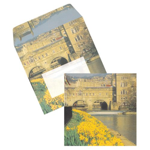 Bath square cards & matching envelopes set